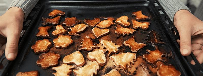 image of burnt sugar cookies on a sheet pan