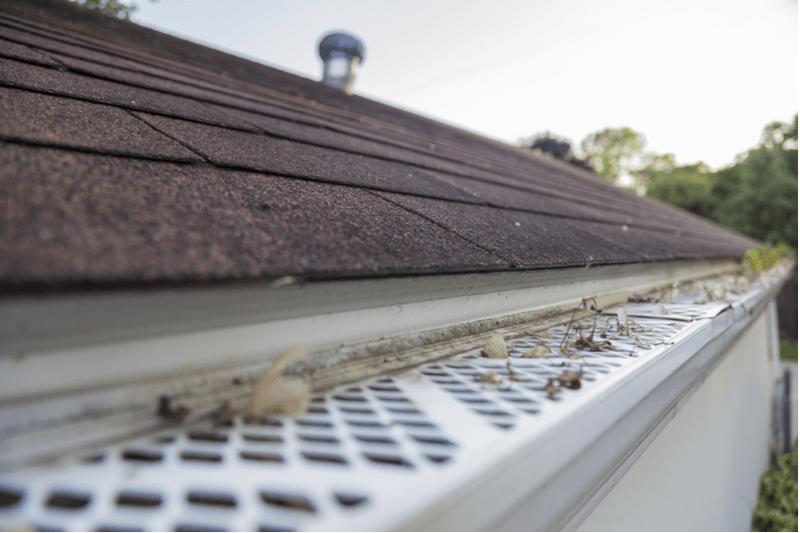 aluminum rain gutter profile image with gutter guard installed