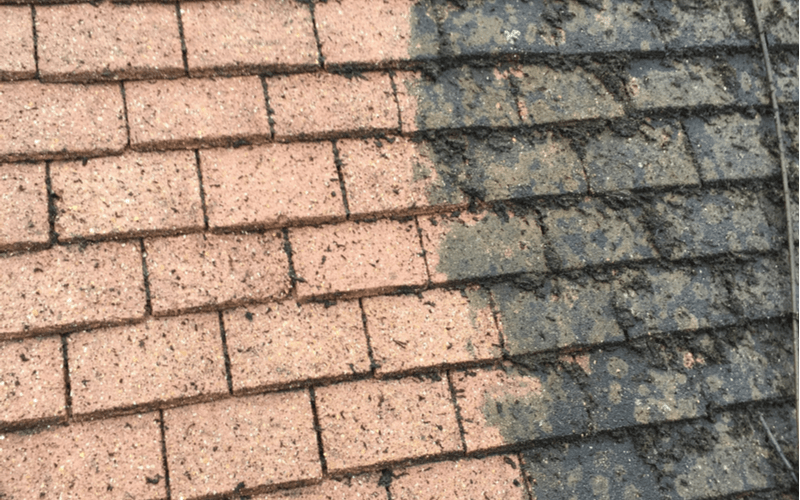 before and after image of a dirty and cleaned roof using soft wash