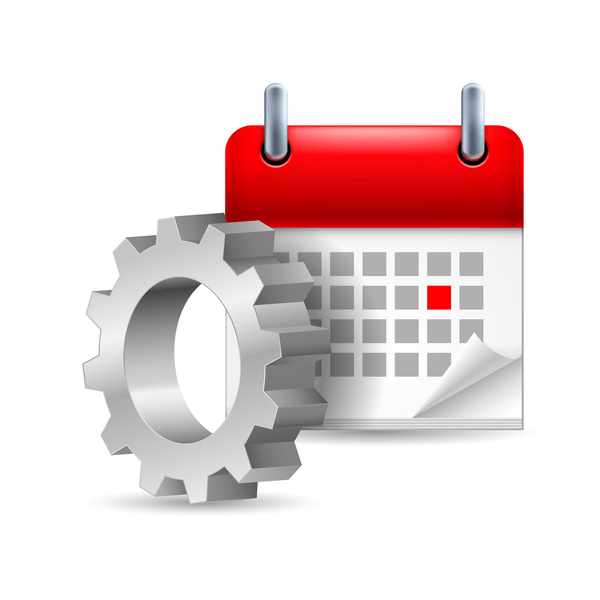 Image of a calendar and a gear