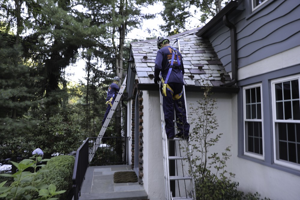 Man on top of latter cleaning gutters